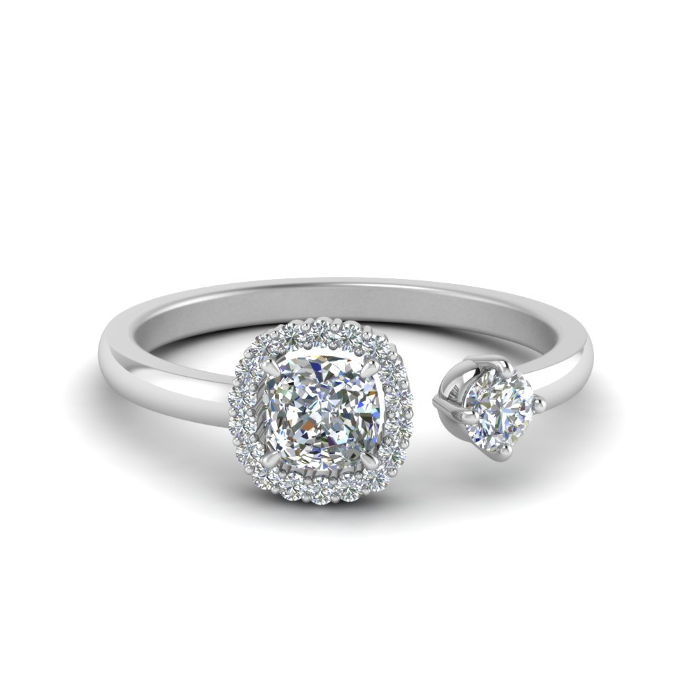 Two Stone Cushion Cut Halo Engagement Ring
