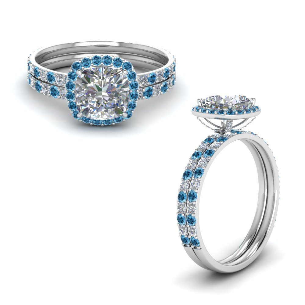 Blue Topaz Platinum Halo Bridal Set