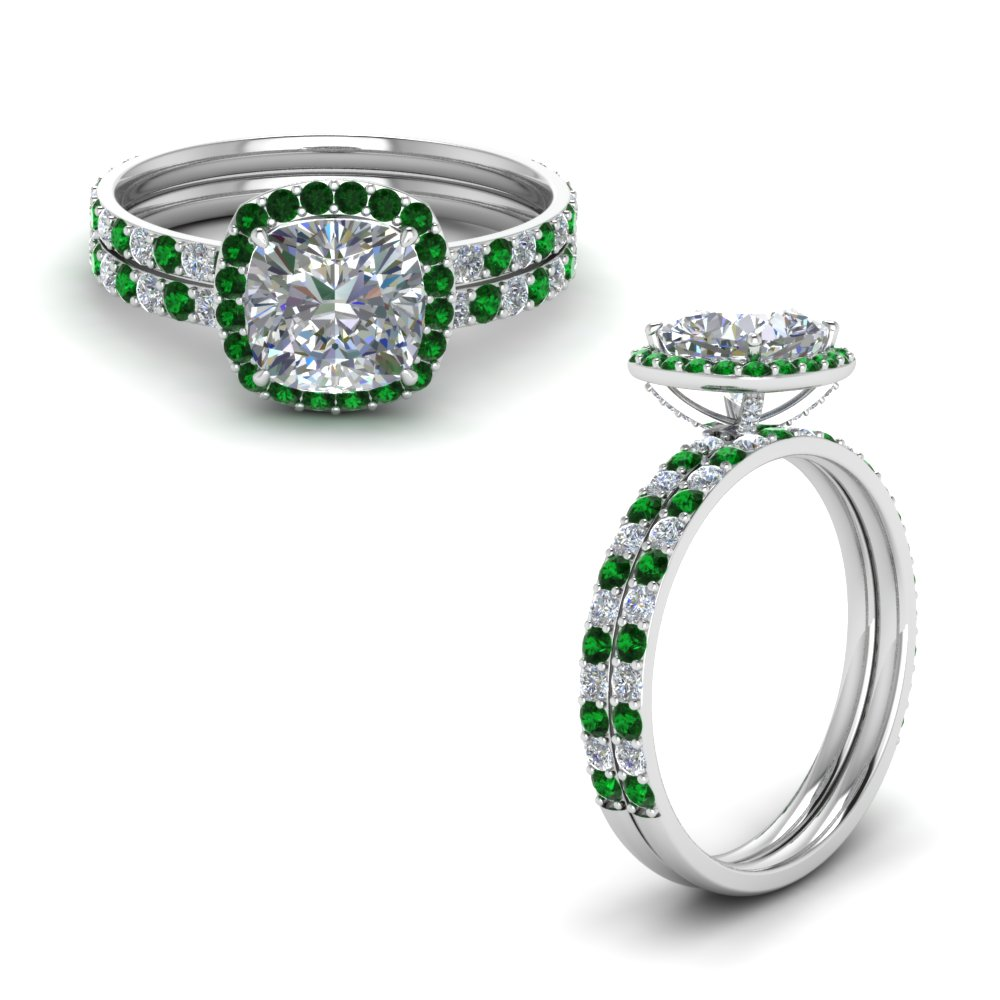 Delicate Emerald Halo Ring Set