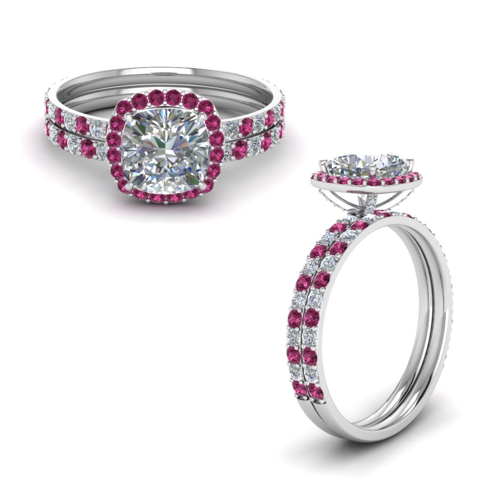 Cushion Pink Sapphire Halo Ring Set