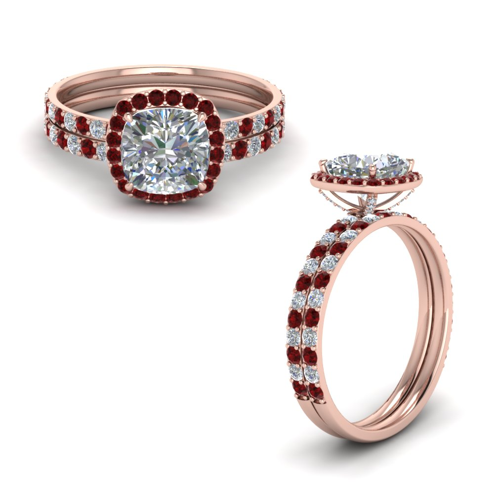 Accent Ruby Halo Bridal Set