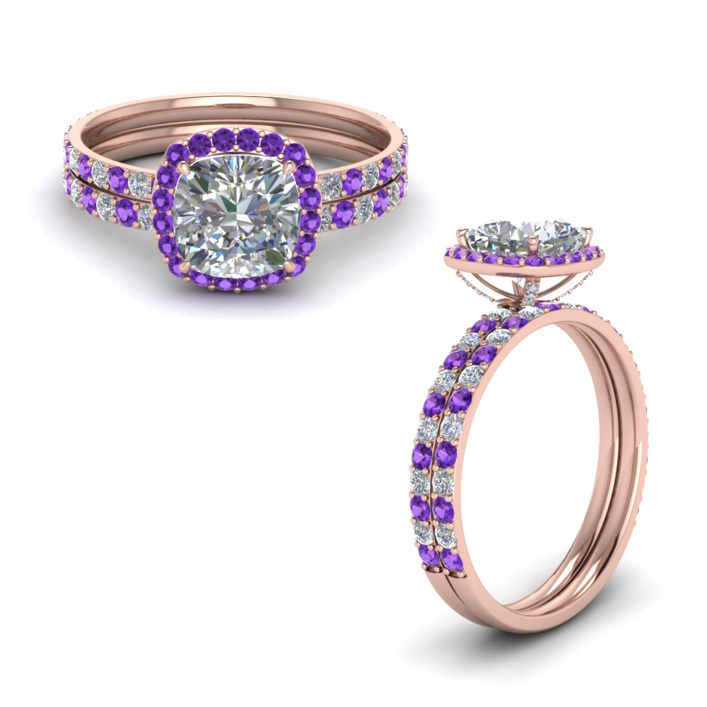 Purple Topaz Ring Set With Cushion Halo