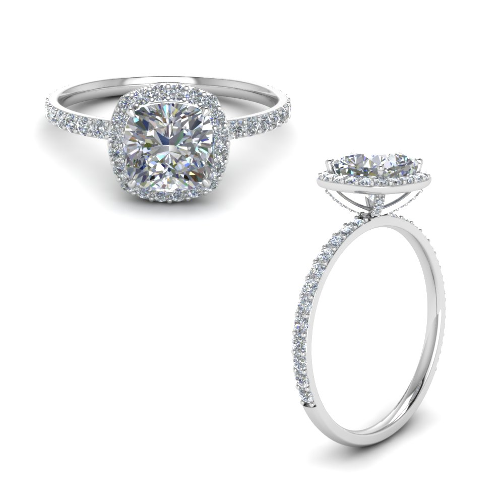 Cushion Cut Petite Moissanite Rings