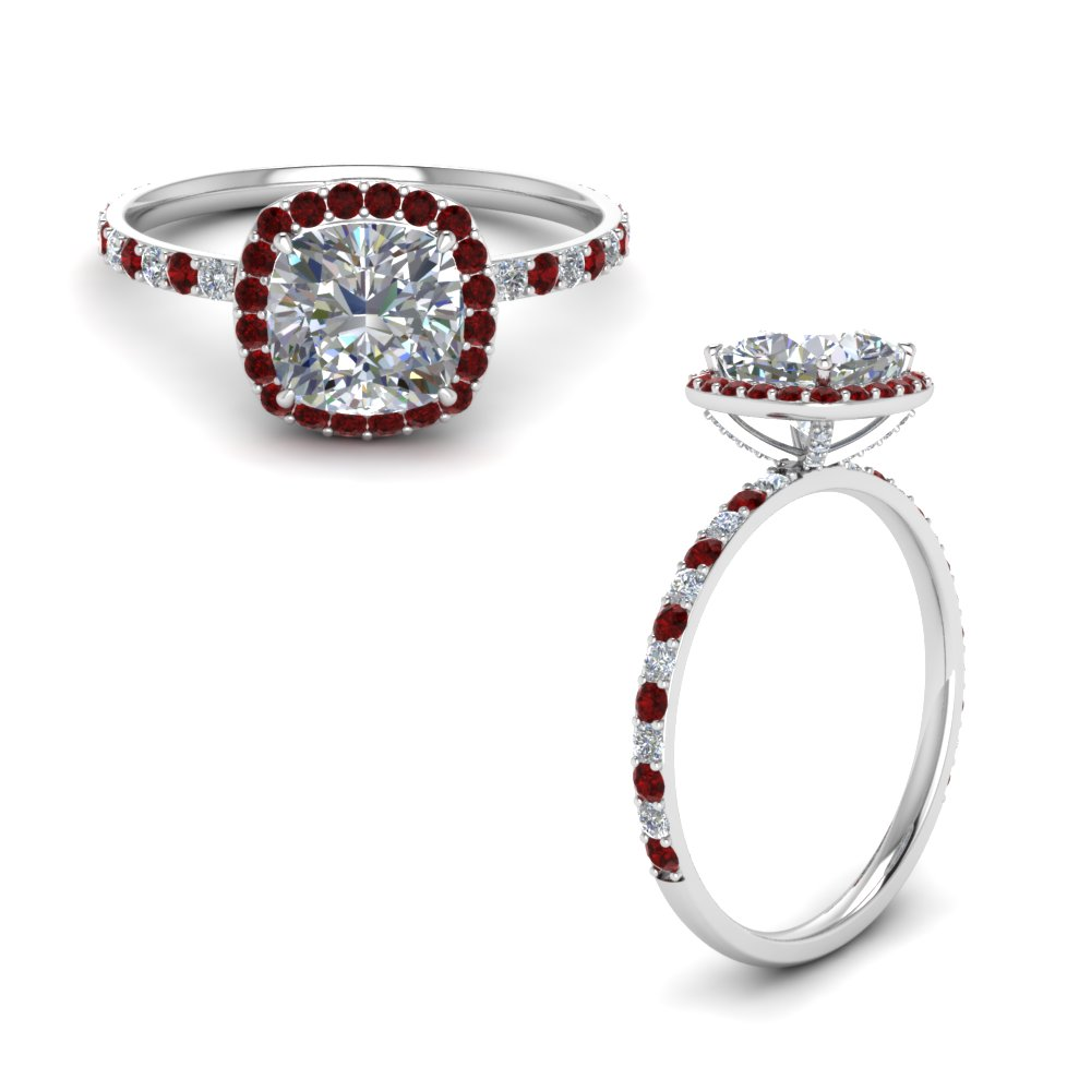 cushion halo prong studded diamond ring with ruby in FD8507CURGRUDRANGLE1 NL WG.jpg