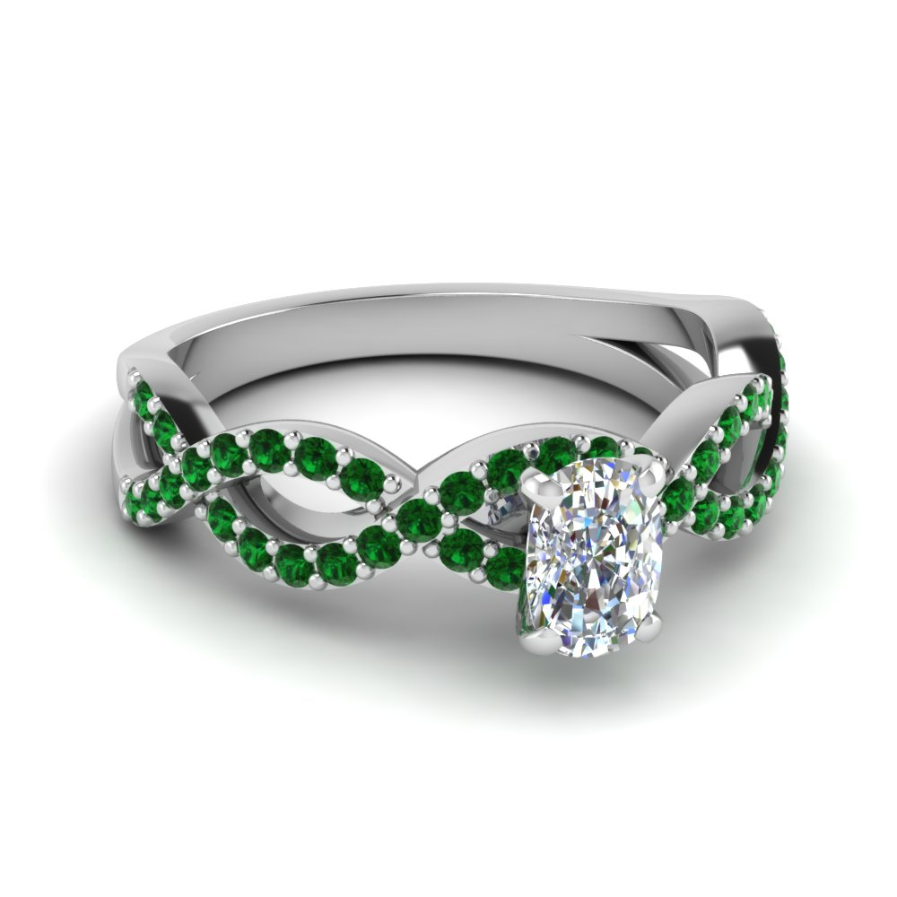 cushion infinity wedding ring with emerald in FD1121CURGEMGR NL WG