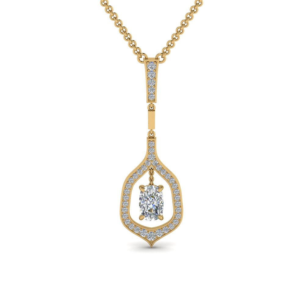 cushion pave diamond drop pendant in FDPD8489CU NL YG