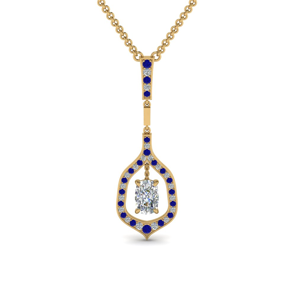 cushion pave diamond drop pendant with sapphire in FDPD8489CUGSABL NL YG