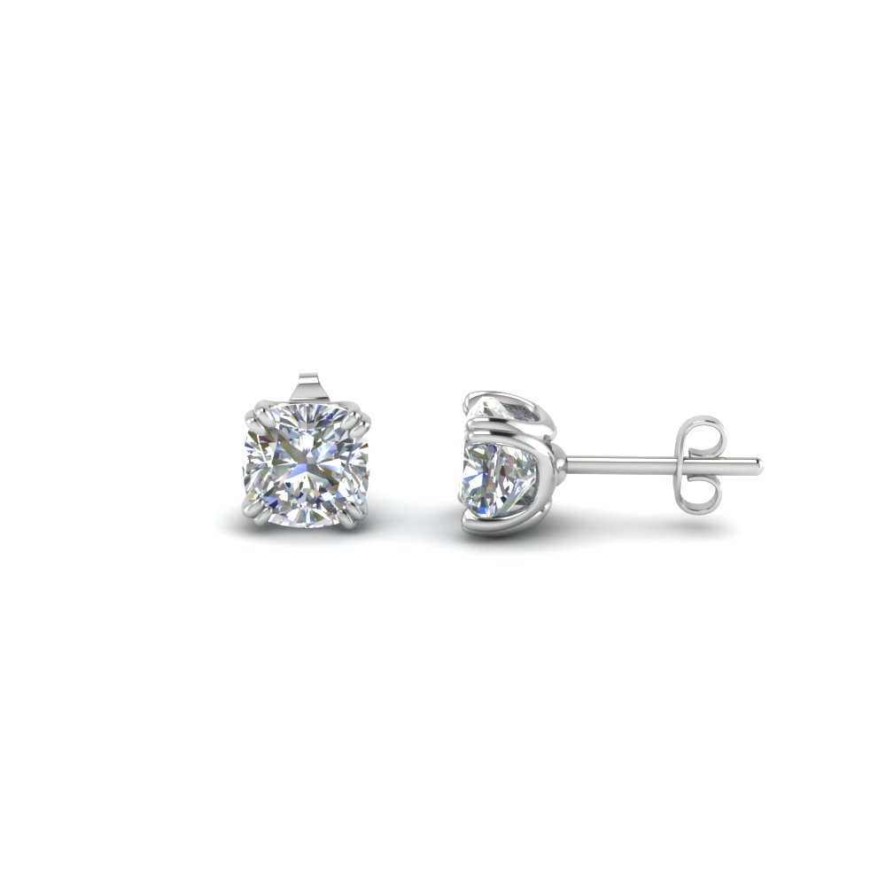 cushion stud diamond earring(1.50 ct.) in 14K white gold FDEAR8461CU 0.75CT NL WG