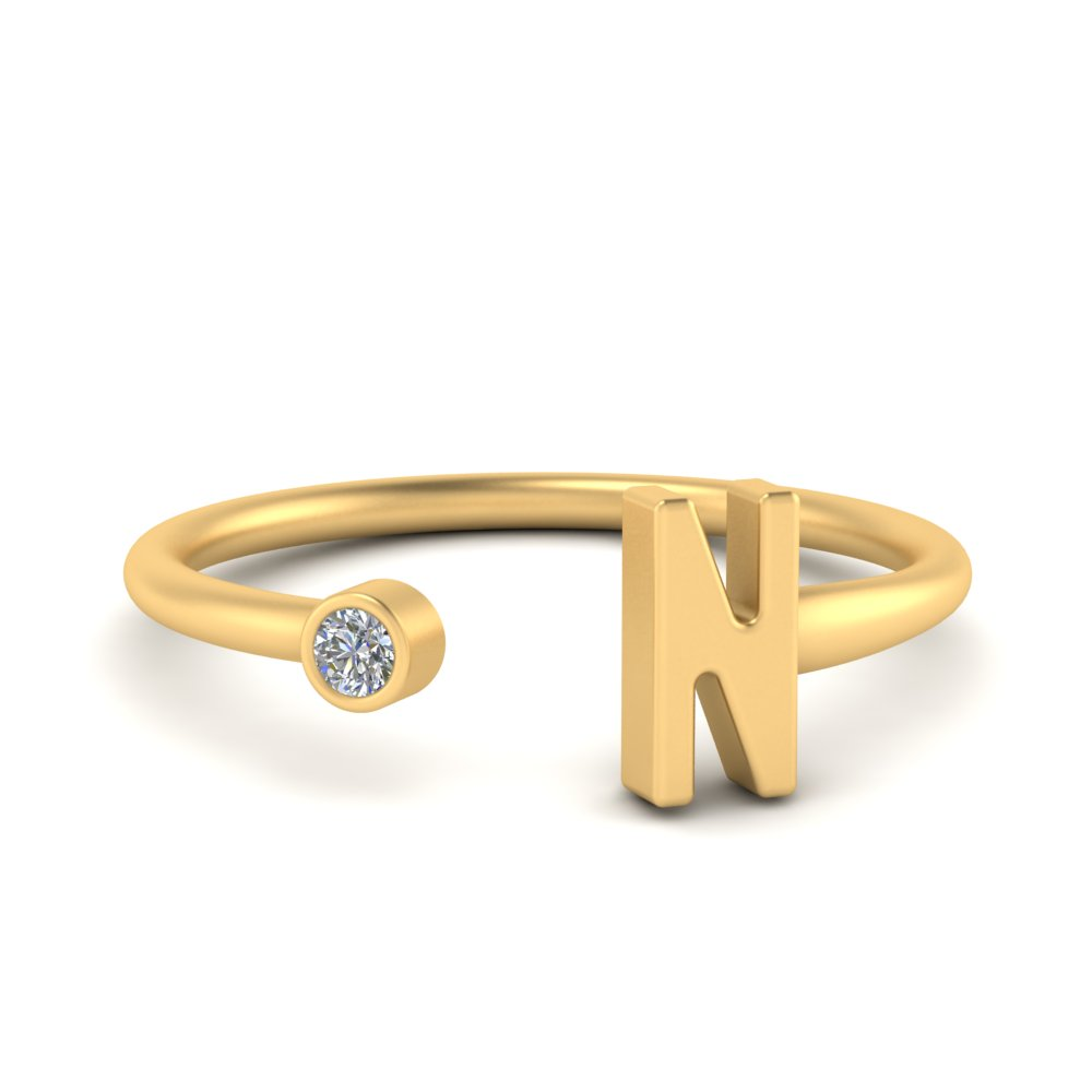 custom initial pinky yellow gold diamond anniversary ring FDW9321 NL YG