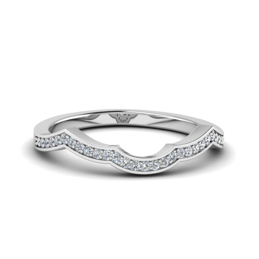custom pave curve diamond wedding band in 14K white gold FDENS3189B NL WG
