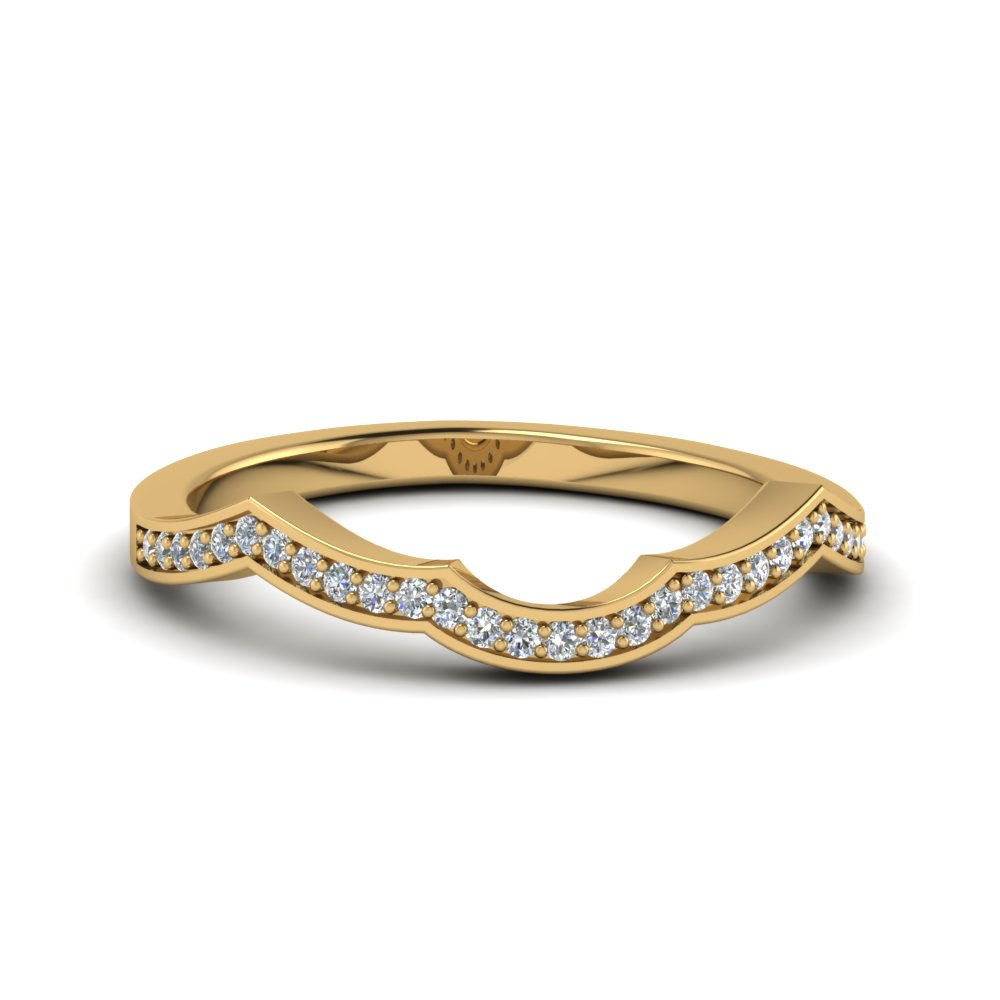 Pave Diamond Curve Wedding Band