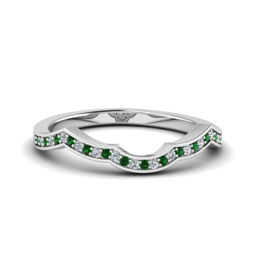 Delicate Emerald Pave Wedding Band