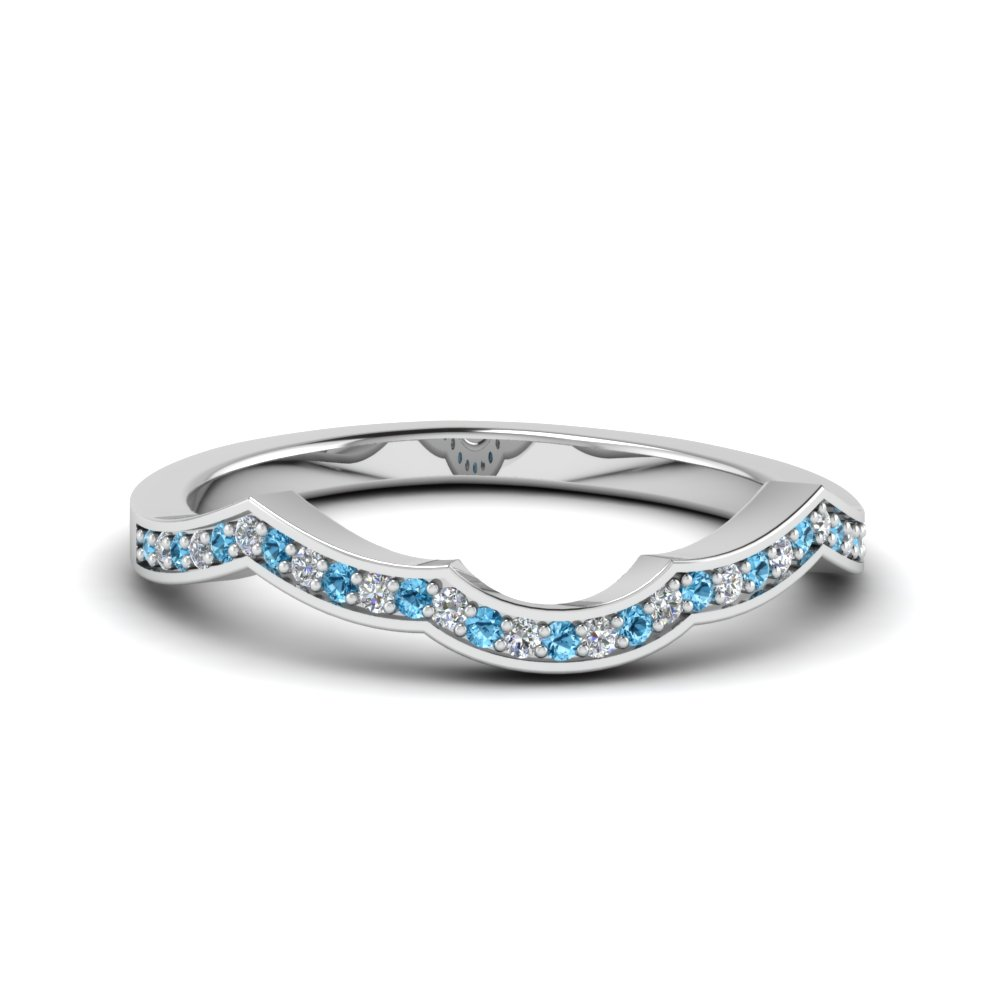 Blue Topaz Platinum Wedding Band