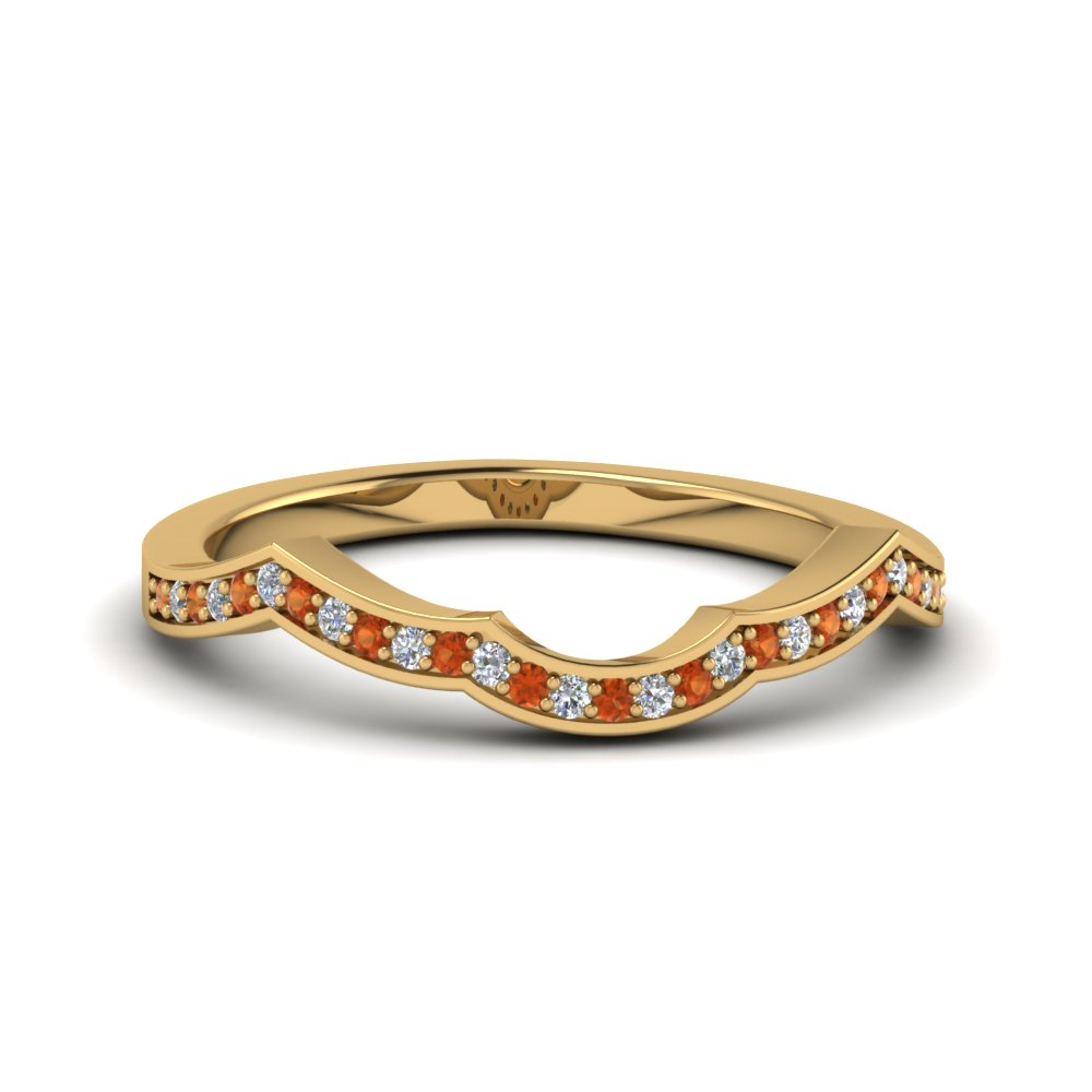 Curve Band With Orange Sapphire