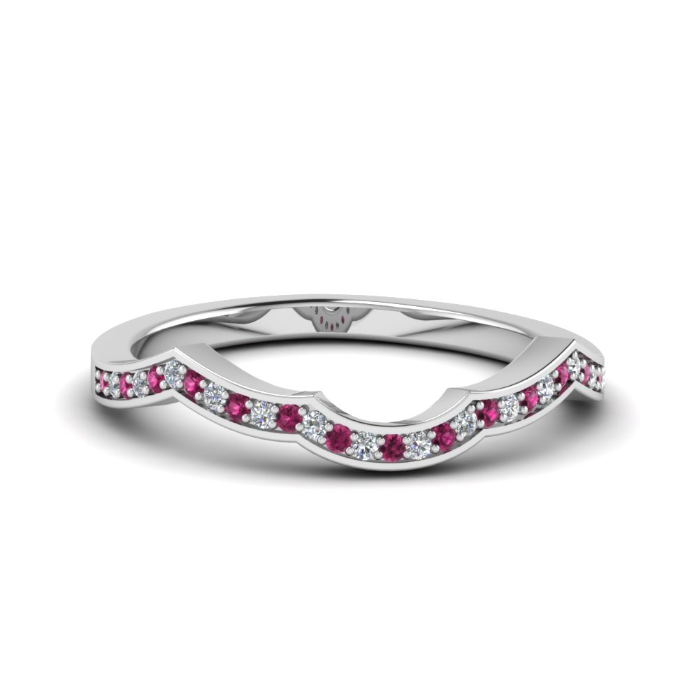 Pink Sapphire Curve Wedding Band