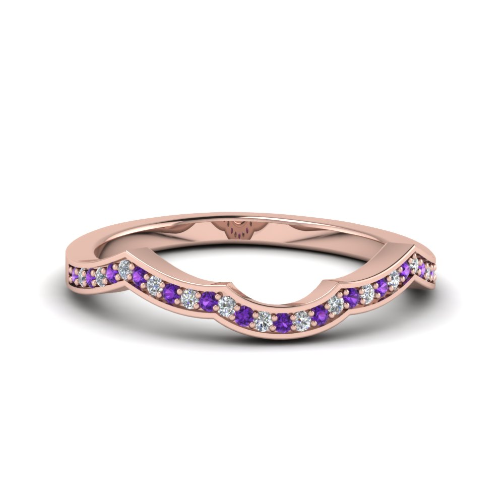 Purple Topaz Pave Curve Band