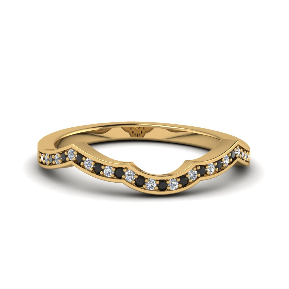 Black Diamond Curve Wedding Band