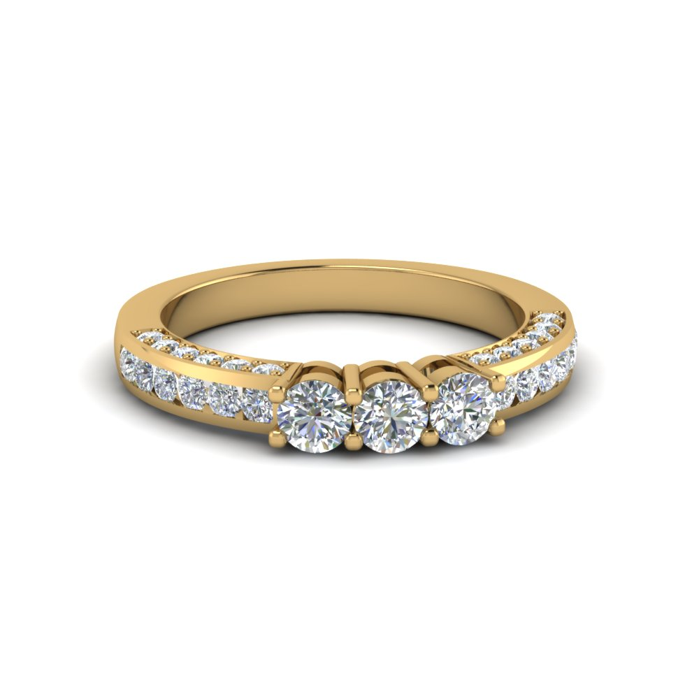 custom round diamond band in 14K yellow gold FDENS1091B NL YG