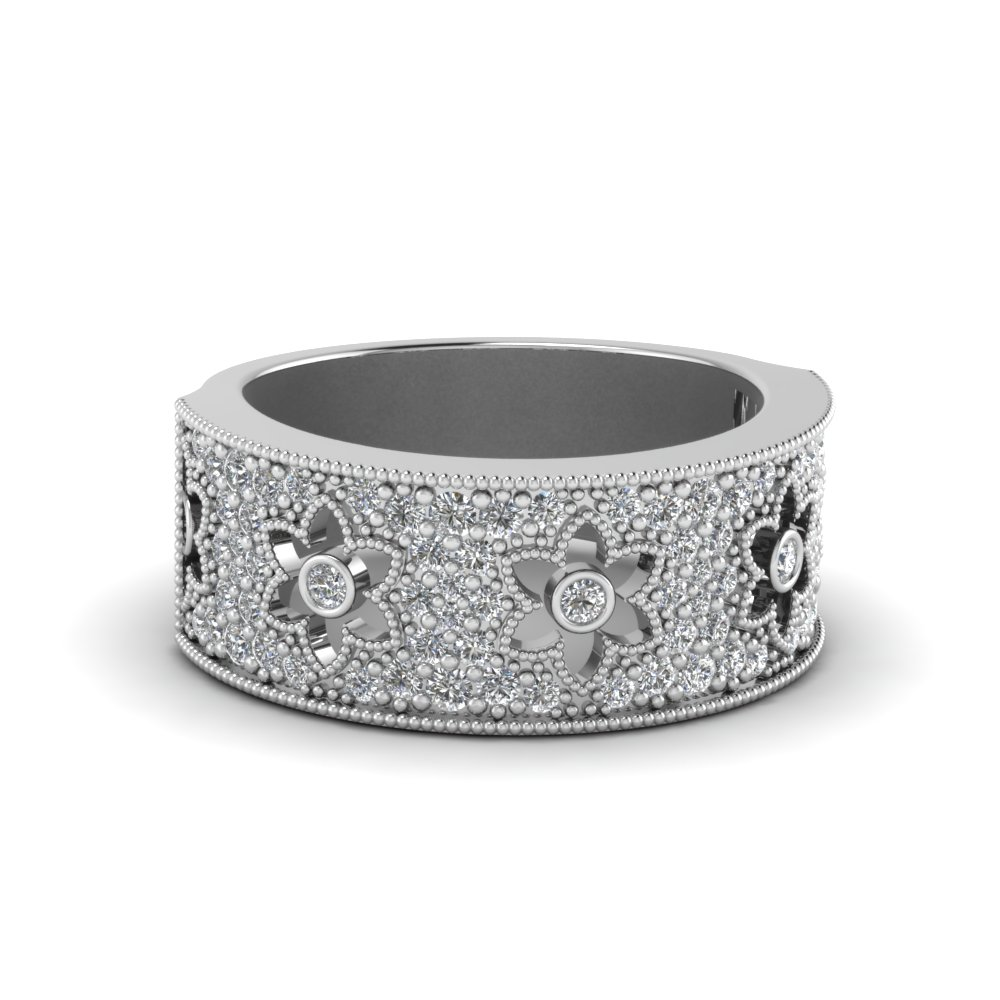 daisy design diamond nature inspired band in 14K white gold FD68144B NL WG