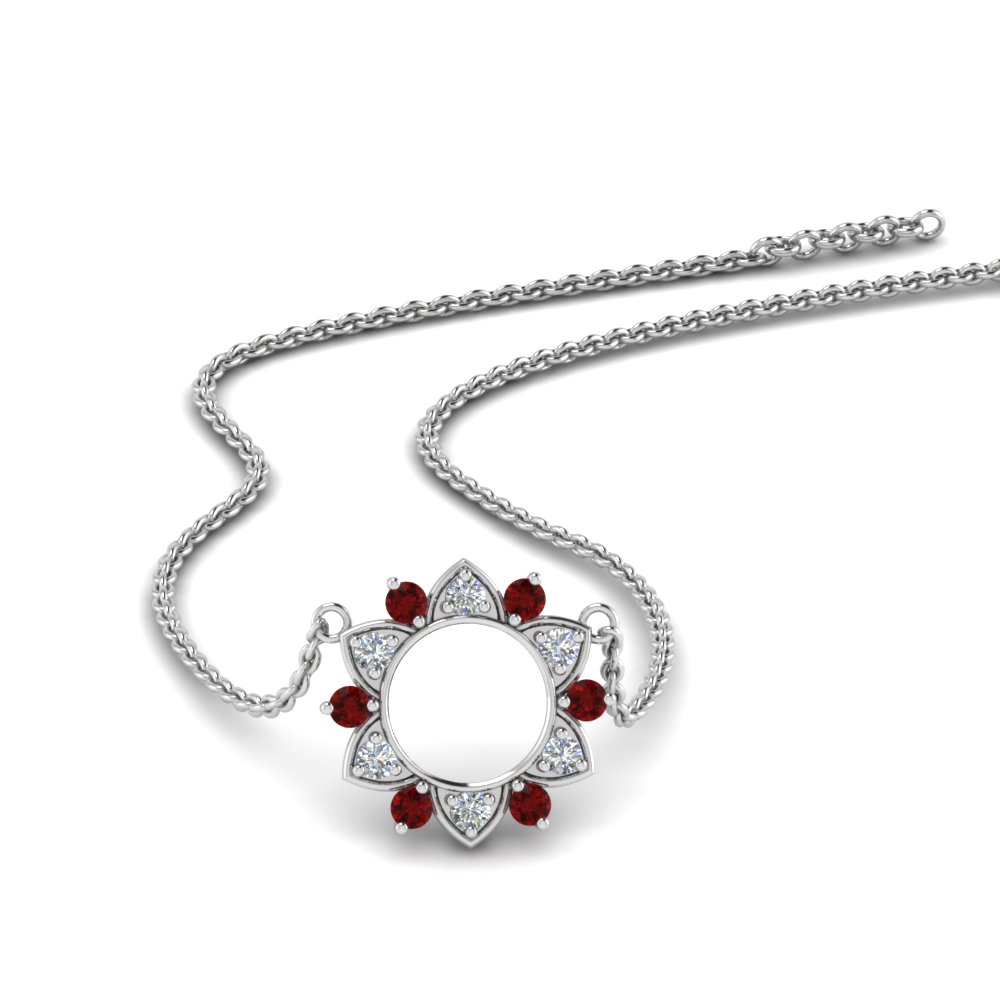 daisy diamond circle pendant with ruby in FDPD86835GRUDR NL WG