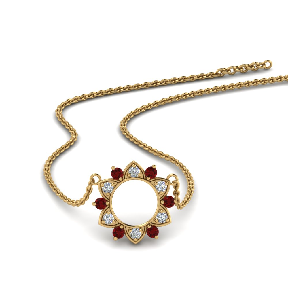 Daisy Ruby Circle Pendant