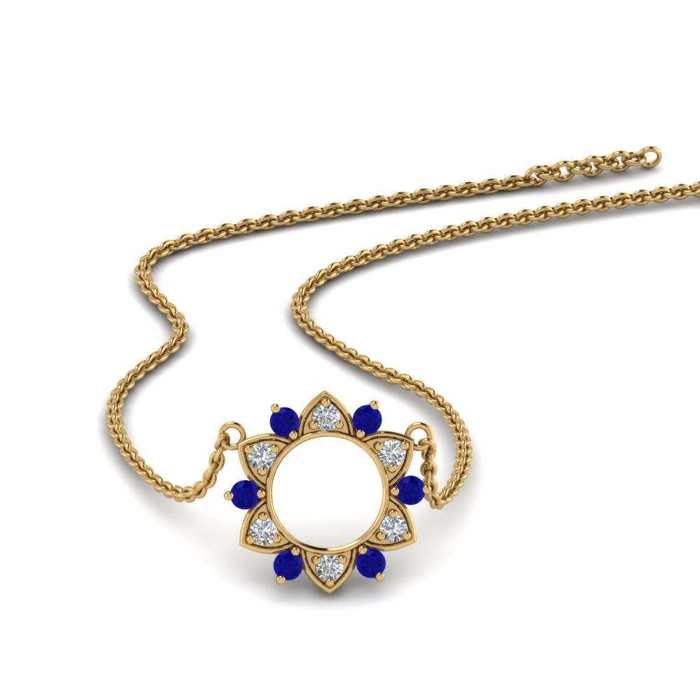 daisy diamond circle pendant with sapphire in FDPD86835GSABL NL YG