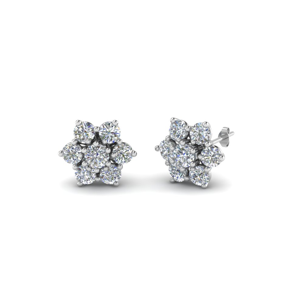 daisy diamond stud earring for women in 14K white gold FDEAR8097 NL WG