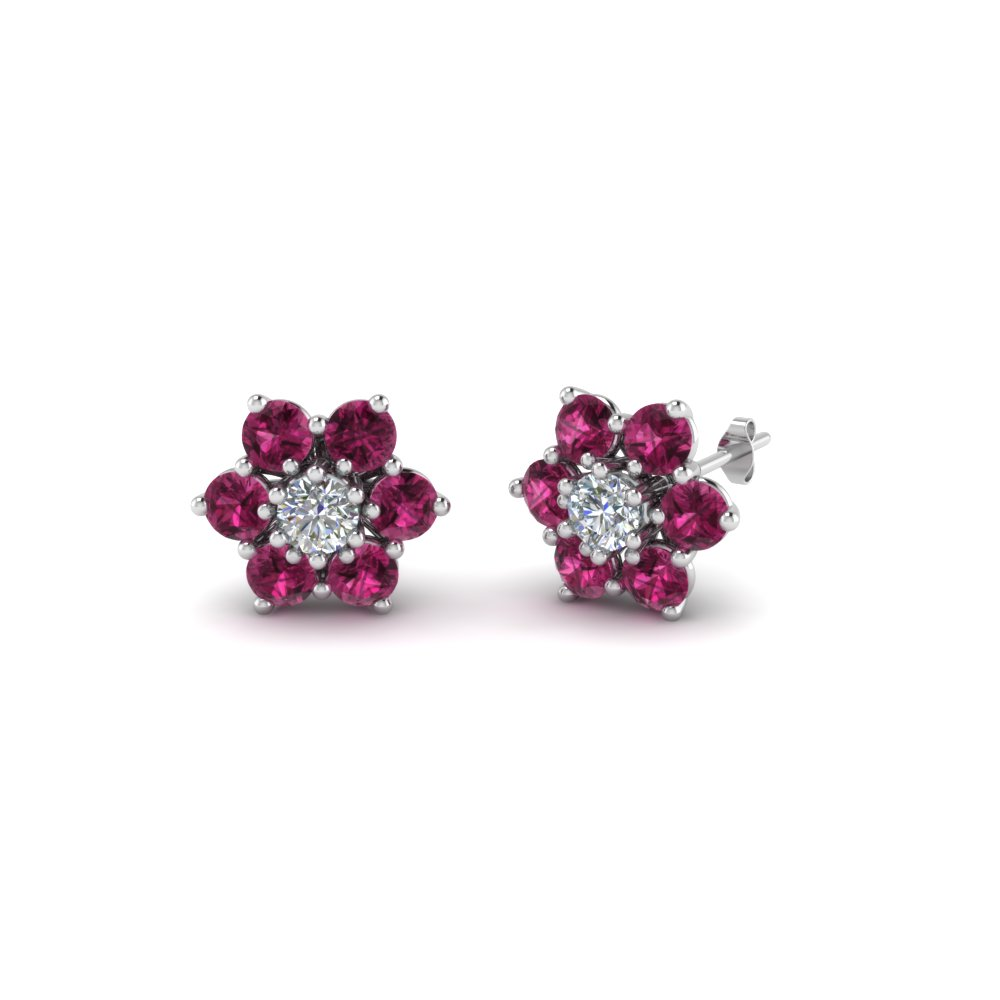 Daisy Diamond Stud Earring For Women With Pink Shire In 14k White Gold Fdear8097gsadrpi Nl Wg