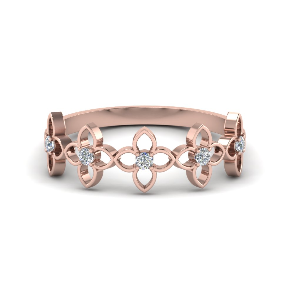 Daisy Diamond Wedding Band In 14K Rose Gold
