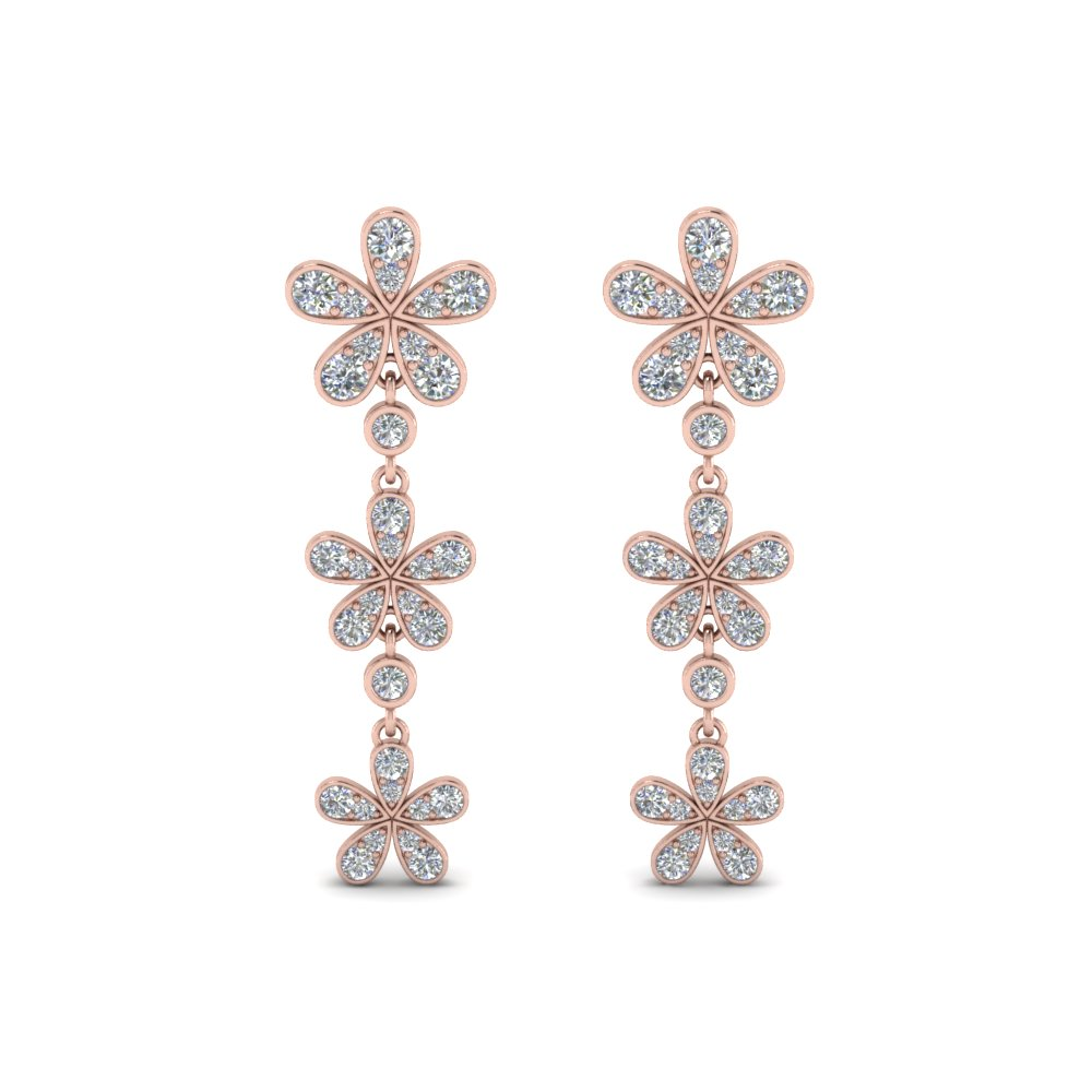 daisy flower diamond 3 drop earring in FDEAR8465ANGLE1 NL RG