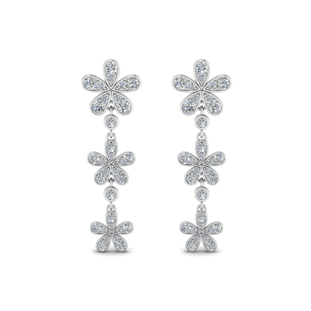 daisy flower diamond 3 drop earring in 14K white gold FDEAR8465ANGLE1 NL WG
