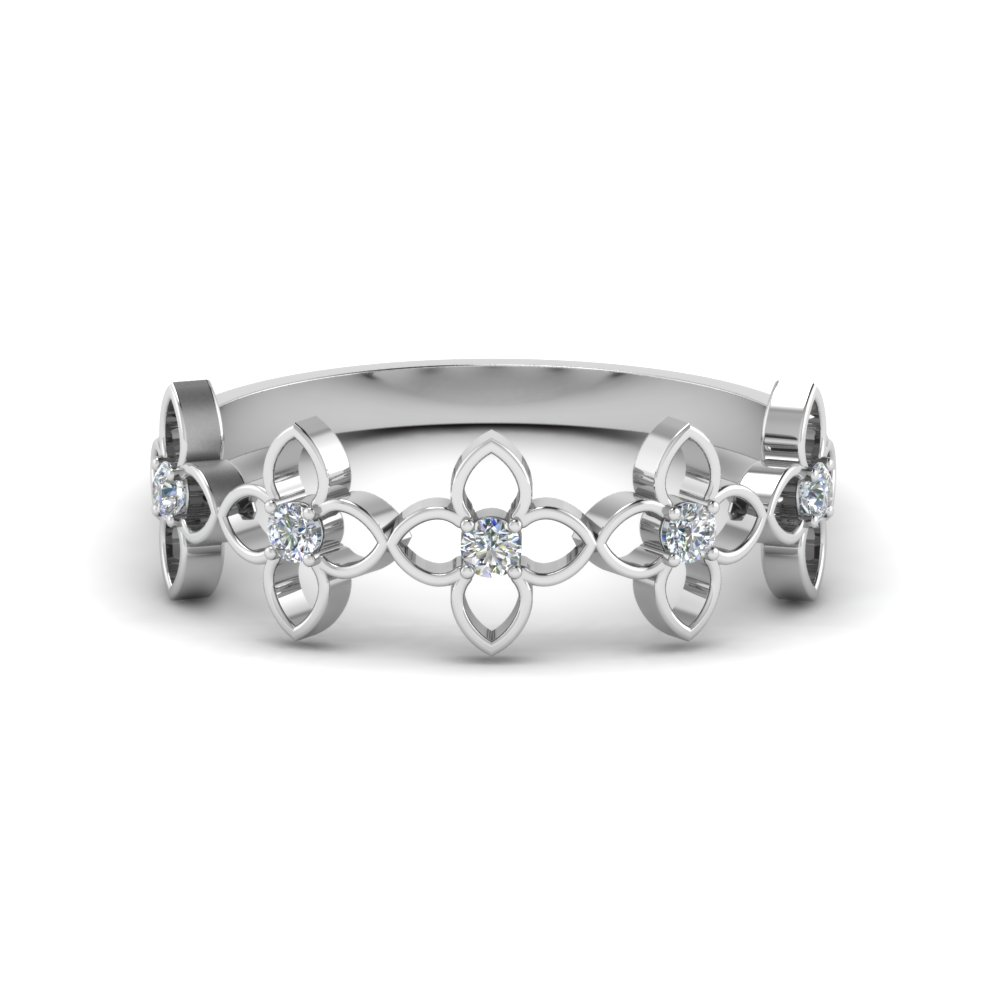 daisy flower diamond wedding band in FD8611 NL WG