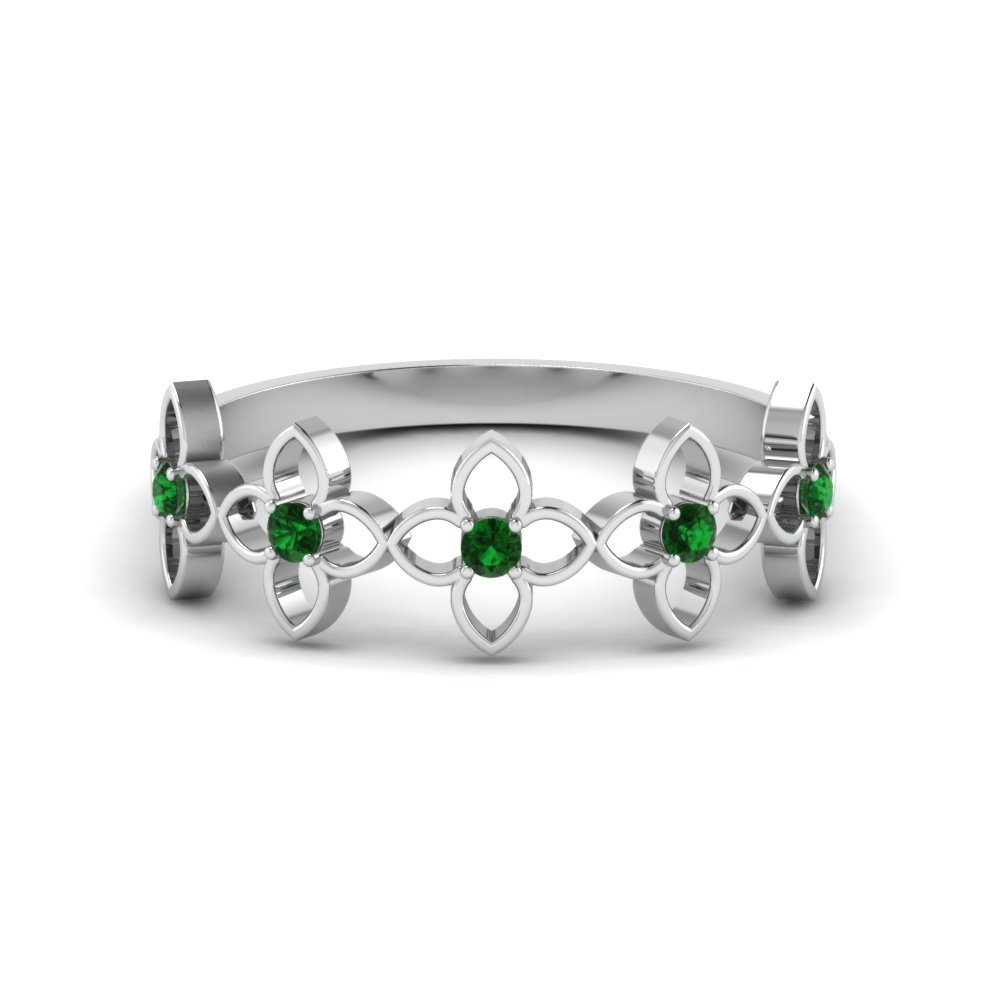 daisy flower emerald wedding band in FD8611GEMGR NL WG
