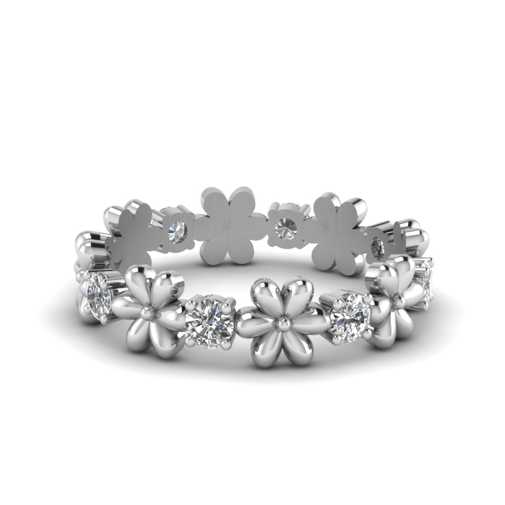 Daisy Flower Eternity Diamond Band In 14K White Gold