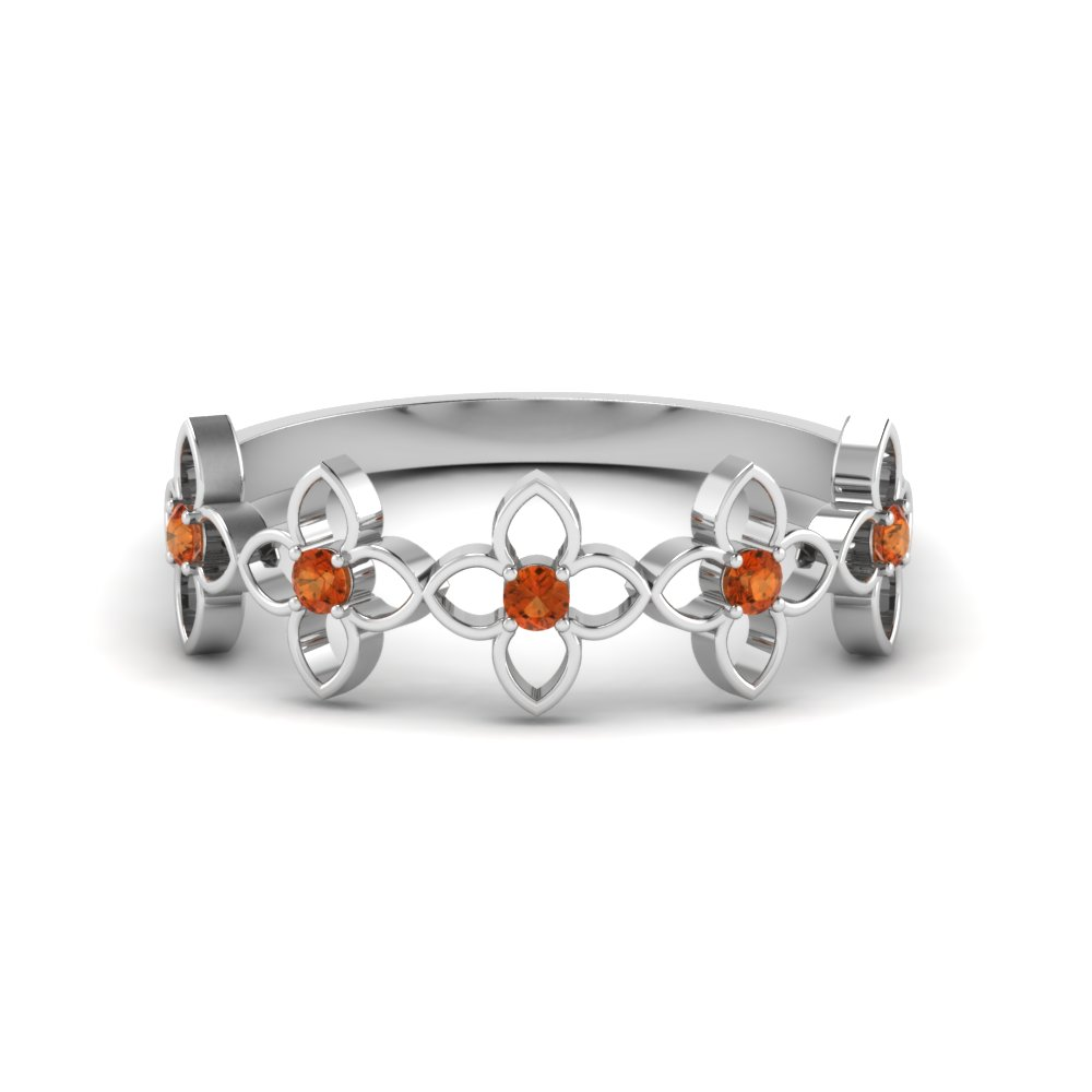 daisy flower orange sapphire wedding band in FD8611GSAOR NL WG