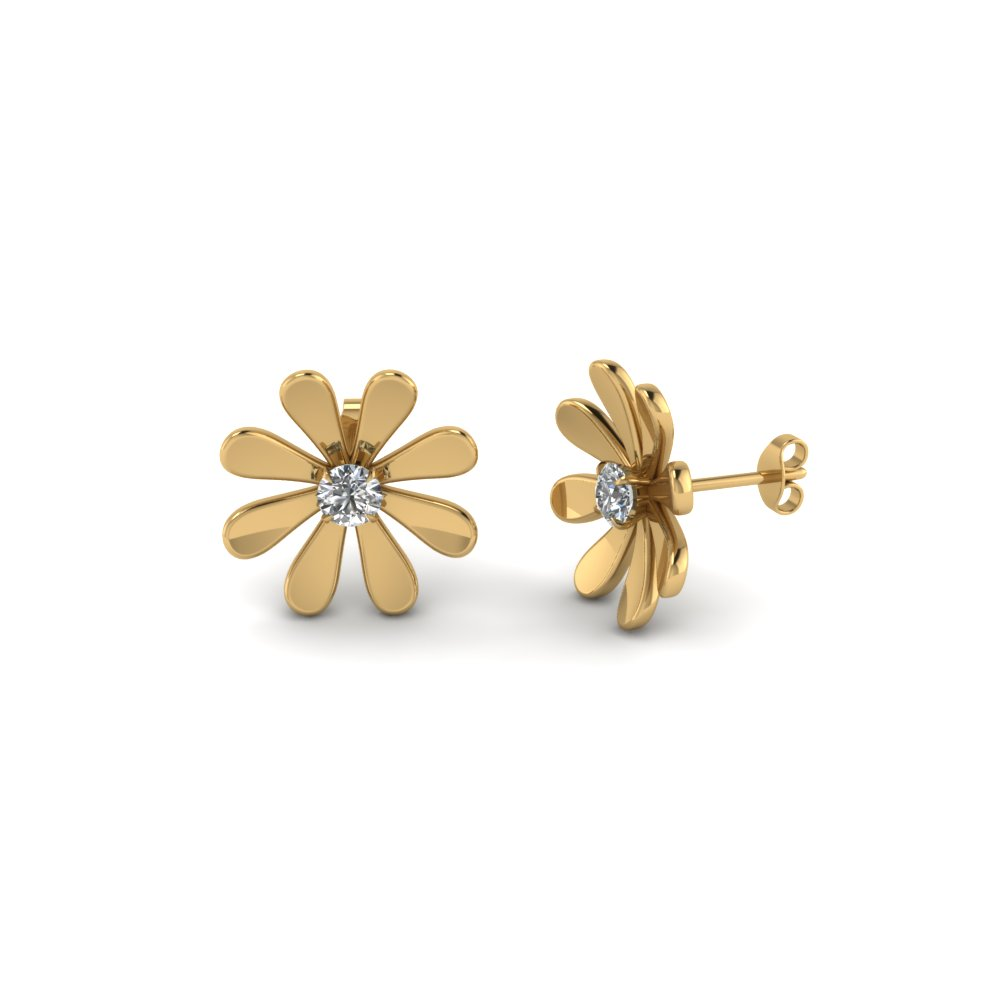 daisy flower round diamond stud earring for women in 14K yellow gold FDEAR1083 NL YG