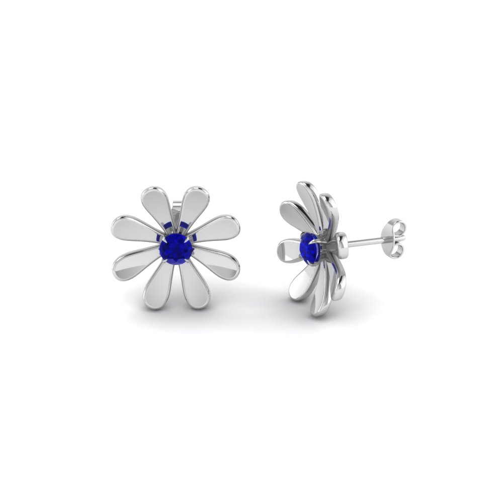 daisy flower sapphire stud earring for women in 14K white gold FDEAR1083GSABL NL WG