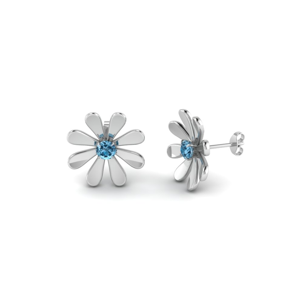 daisy flower blue topaz stud earring for women in 950 Platinum FDEAR1083GICBLTO NL WG