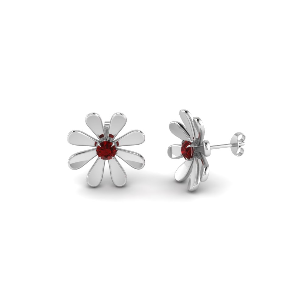 daisy flower ruby stud earring for women in 18K white gold FDEAR1083GRUDR NL WG