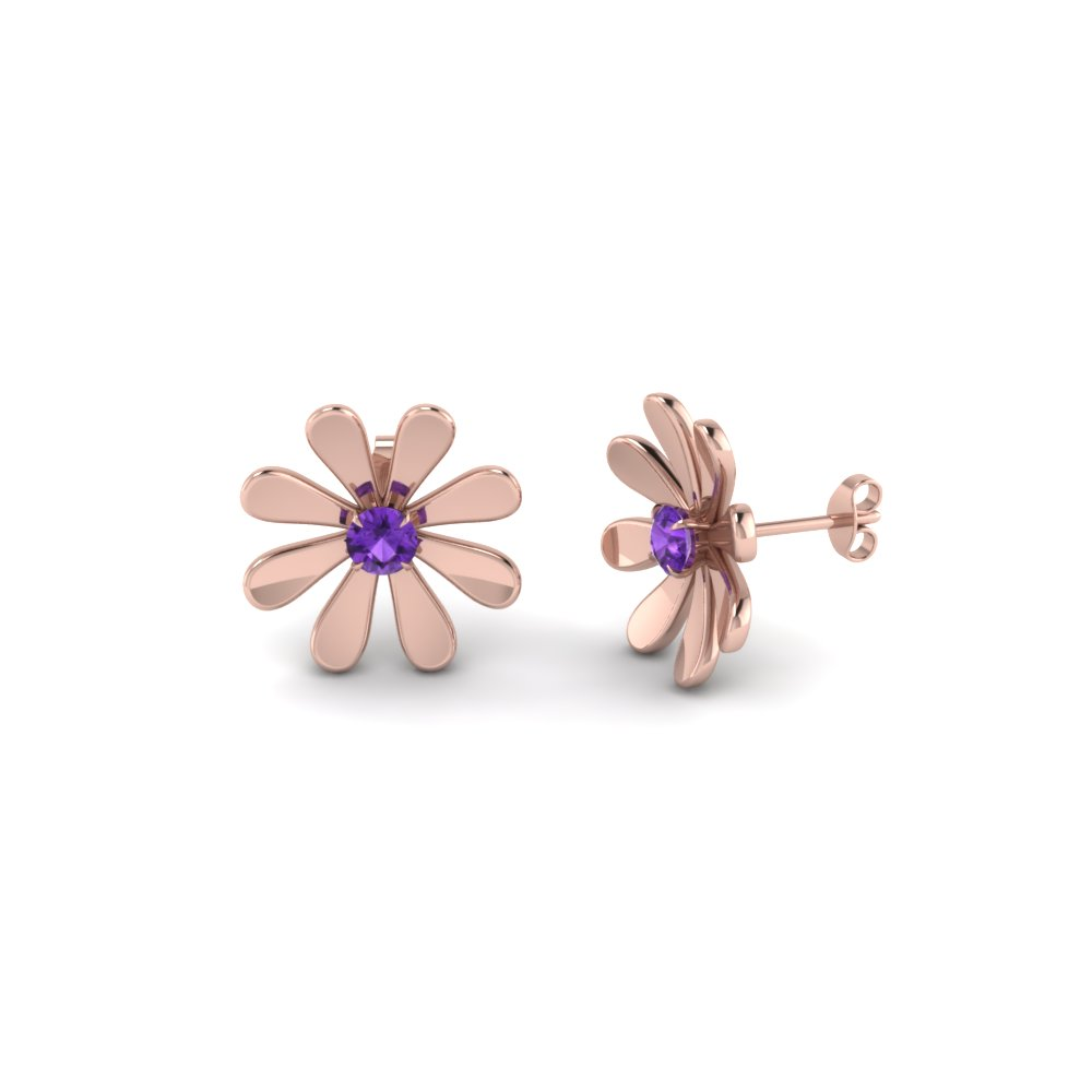 daisy flower violet topaz stud earring for women in 14K rose gold FDEAR1083GVITO NL RG