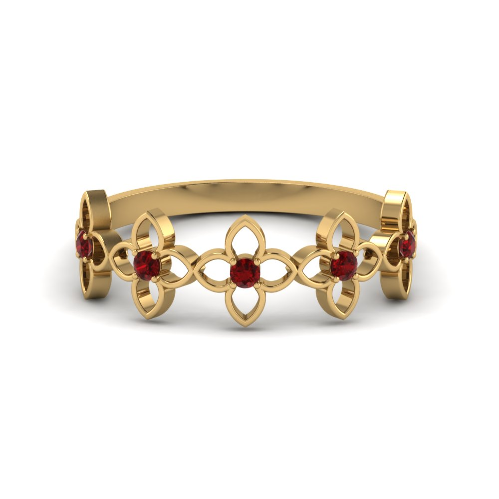 daisy flower ruby wedding band in FD8611GRUDR NL YG