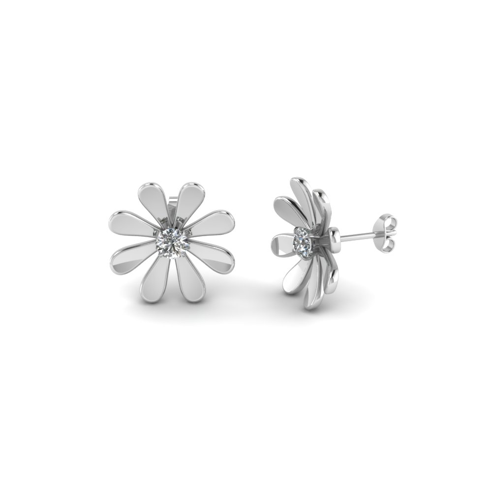 daisy nature inspired earring in 14K white gold FDEAR1083 NL WG