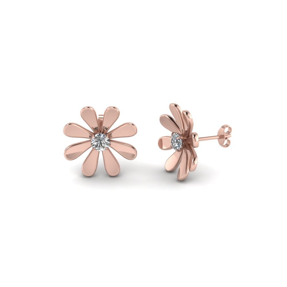 Rose Gold Daisy Diamond Studs
