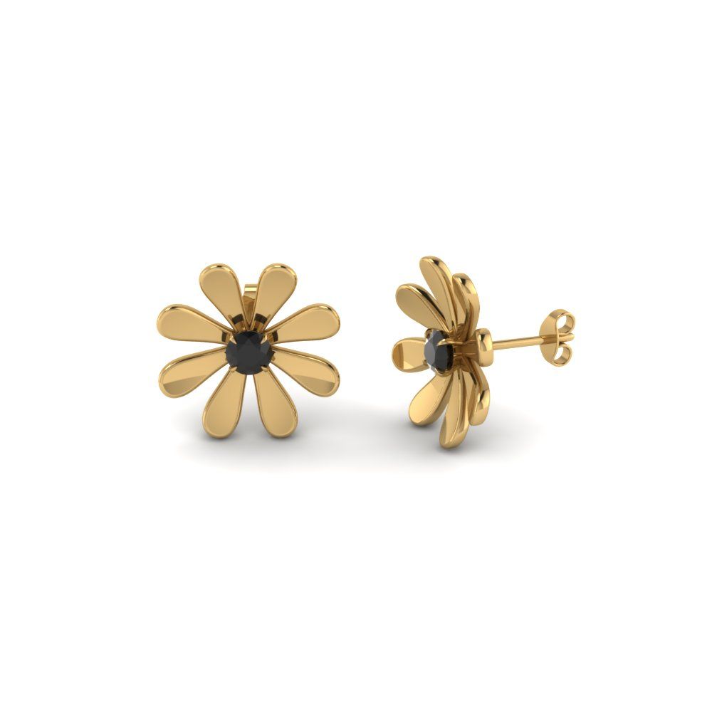 Black Diamond Floral Stud Earrings For Her