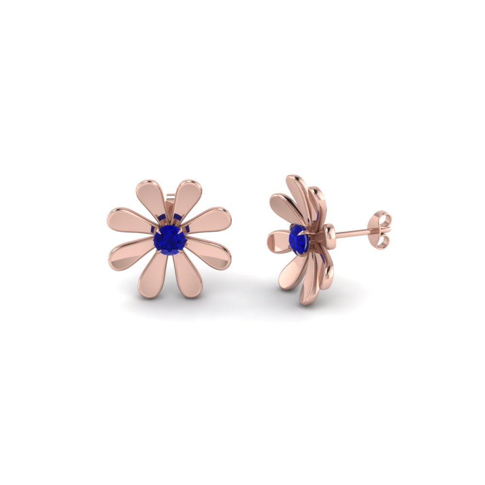 Flower Inspired Sapphire Earrings For Females