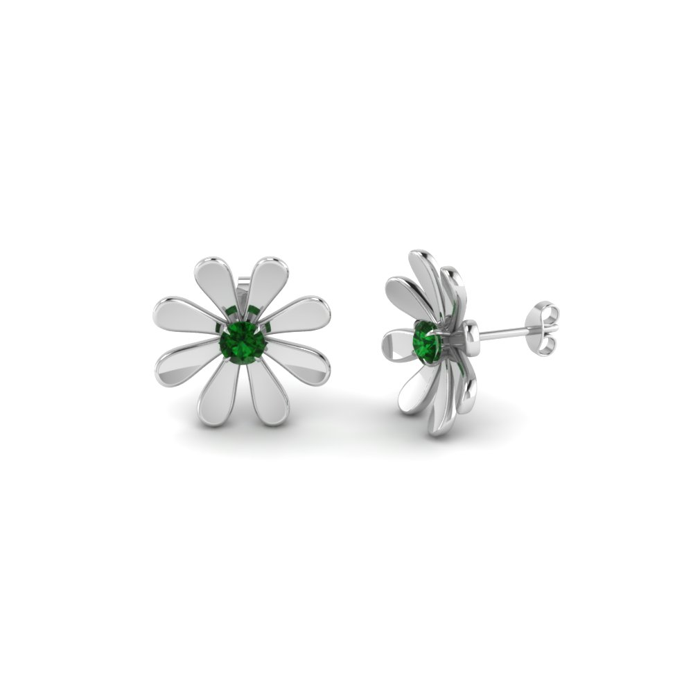 Green Emerald Stud Earrings For Female