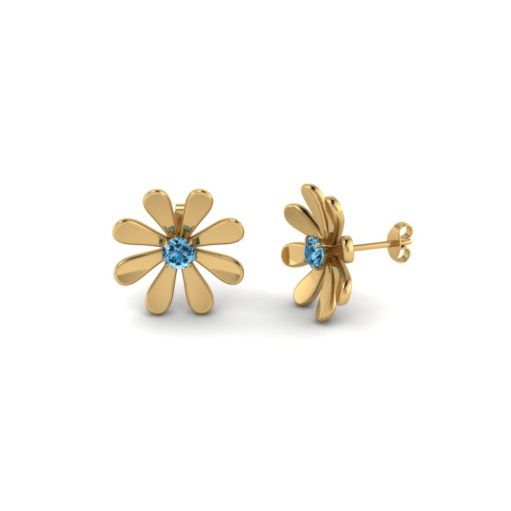 Womens Stud Earring With Blue Topaz