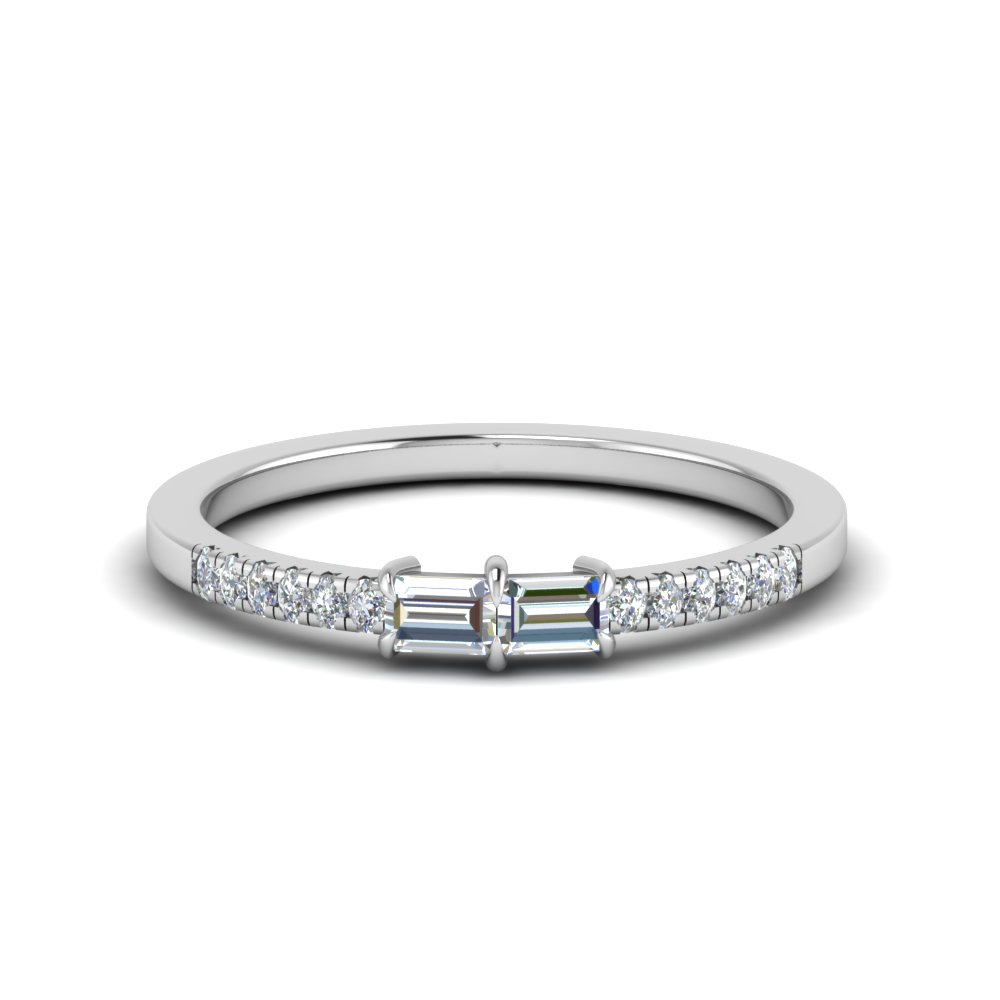 delicate 2 baguette diamond engagement ring for women in 950 Platinum FD 122196 NL WG