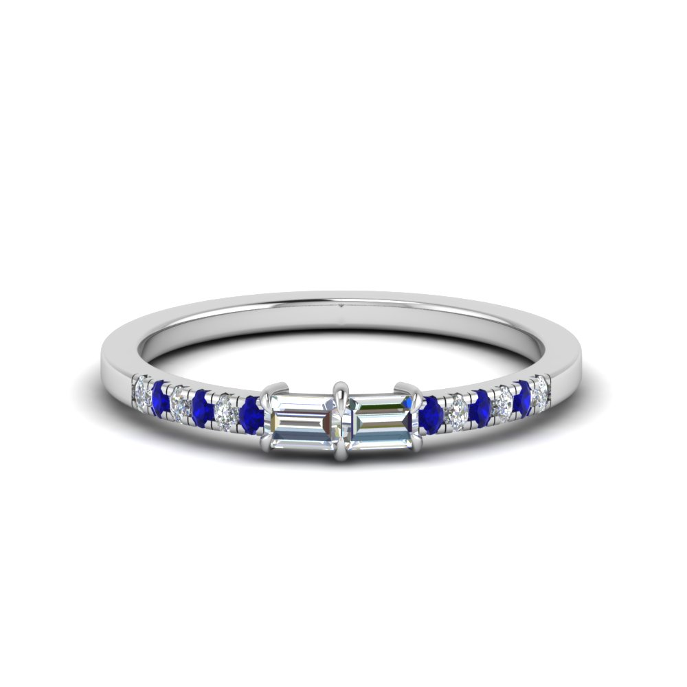 delicate 2 baguette diamond engagement ring for women with sapphire in 14K white gold FD122196GSABL NL WG