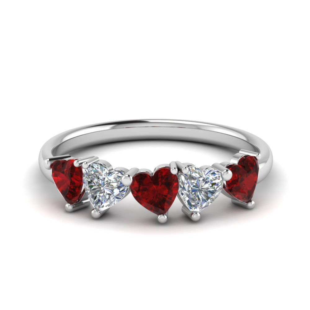 Heart Shaped Ruby Band 1.25 Carat